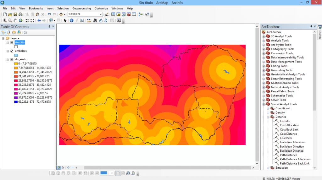 Distancia eucliadiana y reclasificacion raster con ArcGIS