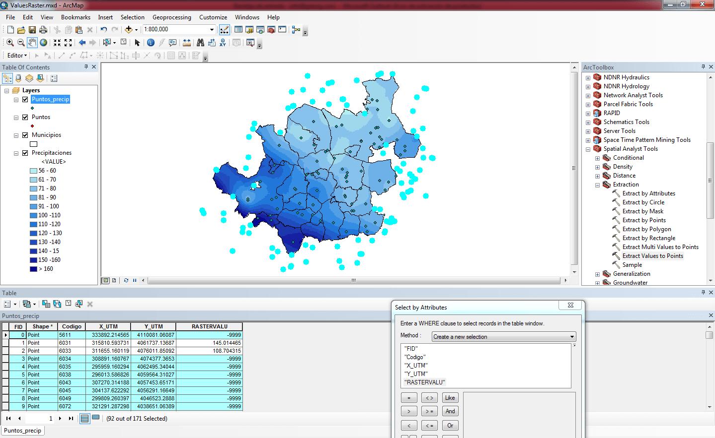 Extraer valores de un raster a una capa con ArcGIS