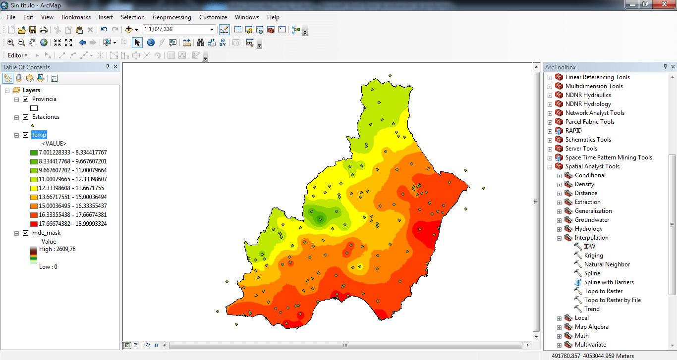 mapas de isolineas con ArcGIS